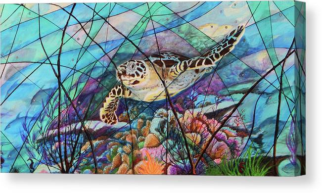 Tortuga Carey Canvas Print featuring the painting Tortuga carey cropped by Angel Ortiz