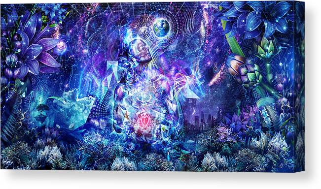 Blue Canvas Print featuring the digital art Transcension by Cameron Gray