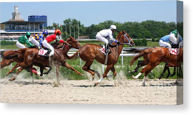 Game Canvas Print featuring the photograph Horse Race For The Prize by Mikhail Pogosov