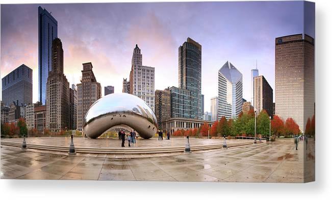 Dawn Canvas Print featuring the photograph Millennium Park, Chicago, Illinois,usa by Travelpix Ltd