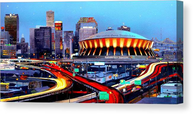 Superdome Canvas Print featuring the painting Road To The Dome by Mike Roberts