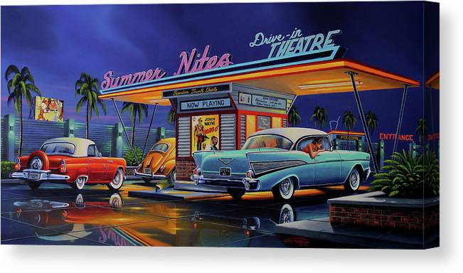 Summer Nites Canvas Print featuring the painting Summer Nites by Geno Peoples
