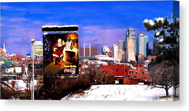 City Canvas Print featuring the photograph Kansas City Skyline at Christmas by Steve Karol