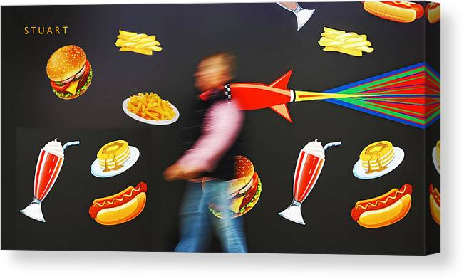 Rocket Canvas Print featuring the painting Rocket Lunch by Charles Stuart