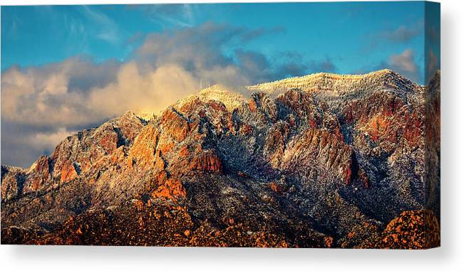 Albuquerque Canvas Print featuring the photograph Unveiling Sandia Mountain and Crest by Zayne Diamond Photographic