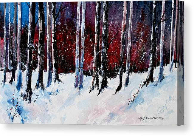 Winter Snow Forest Birch Trees Canvas Print featuring the painting Ladies of the Forest by Wilfred McOstrich