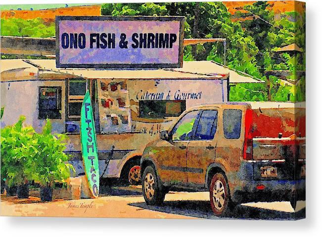Hawaii Food Truck Canvas Print featuring the digital art Hawaii Food Truck by James Temple