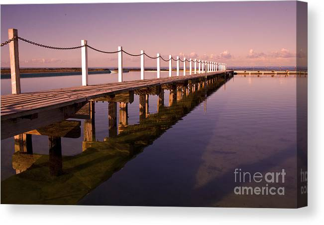 Narrabeen Sydney Sunrise Wharf Walkway Canvas Print featuring the photograph Narrabeen sunrise by Sheila Smart Fine Art Photography