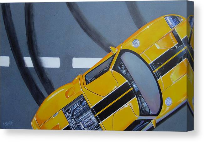Car Canvas Print featuring the painting Out For A Spin by Lynn Masters