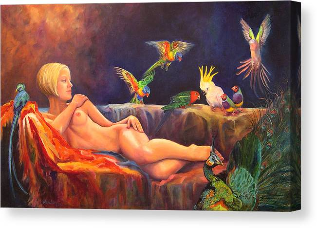 Nude Canvas Print featuring the painting Pale By Comparison by Valerie Aune