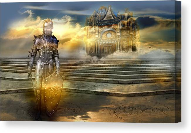 Guardian Knight Palace Court Surrealism Sky Clouds Shield Magic Aerial Castle Fairytales Fantastic Canvas Print featuring the photograph The guardian of the celestial palace by Desislava Draganova