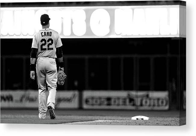 American League Baseball Canvas Print featuring the photograph Seattle Mariners V Miami Marlins by Mike Ehrmann