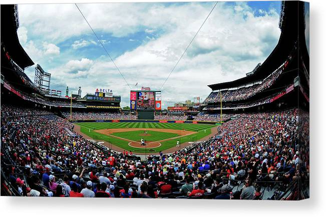 Atlanta Canvas Print featuring the photograph Washington Nationals V Atlanta Braves by Scott Cunningham
