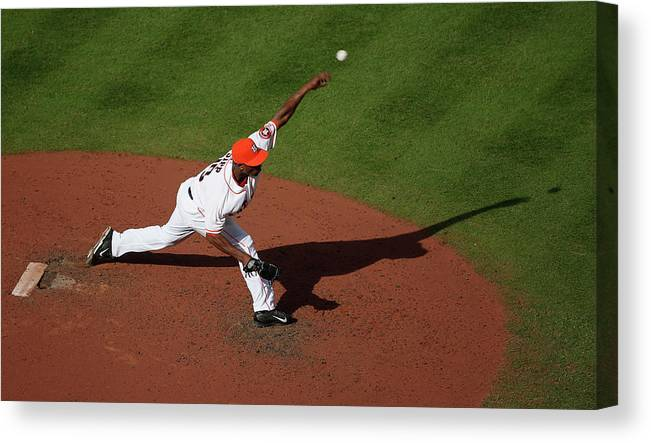 American League Baseball Canvas Print featuring the photograph Chicago White Sox V Houston Astros by Scott Halleran