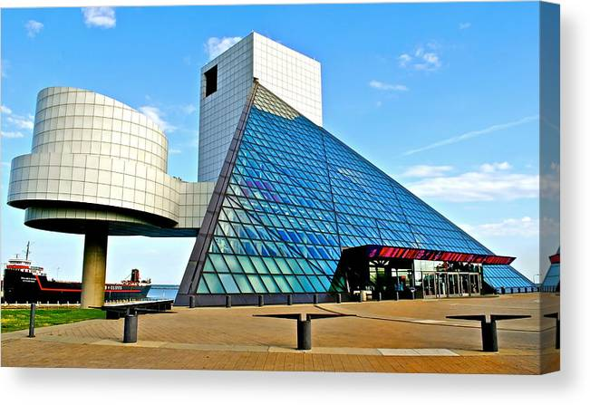 Rock Canvas Print featuring the photograph Rock and Roll Hall of Fame by Frozen in Time Fine Art Photography