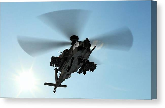 Wind Canvas Print featuring the photograph Armed Longbow Apache Helicopter In by Bestgreenscreen