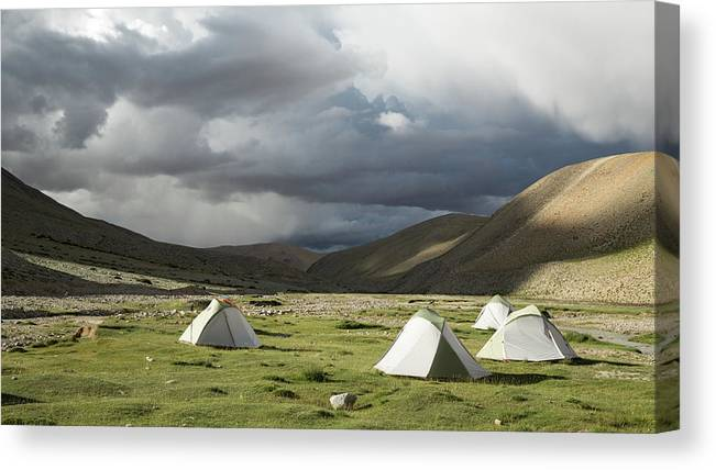 Tranquility Canvas Print featuring the photograph Atmospheric Grassy Camping by Jamie Mcguinness - Project Himalaya