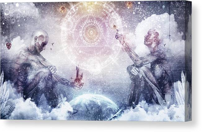 Vibrant Canvas Print featuring the digital art Awake In A Silver Land by Cameron Gray