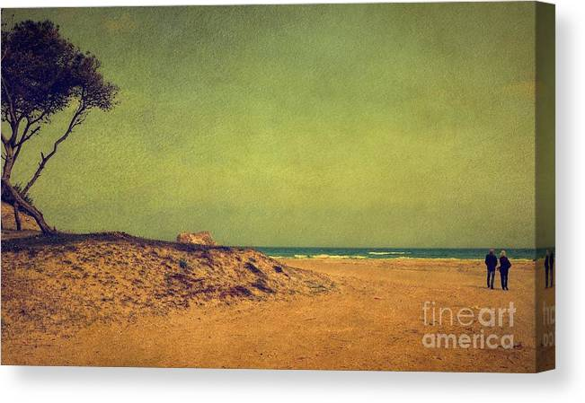 Photography Canvas Print featuring the photograph Beach In Autumn by Rosina Schneider