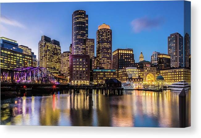 Downtown District Canvas Print featuring the photograph Boston Skyline At Sunset by (c) Swapan Jha