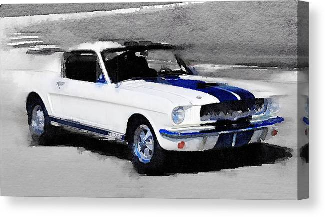 Ford Mustang Shelby Canvas Print featuring the painting Ford Mustang Shelby Watercolor by Naxart Studio