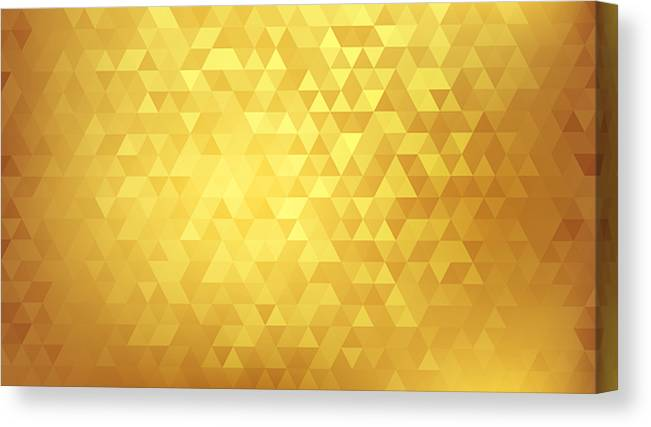 Triangle Shape Canvas Print featuring the drawing Golden abstract background by Mfto