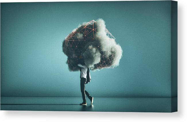 Internet Canvas Print featuring the photograph Humorous mobile cloud computing conceptual image by Gremlin