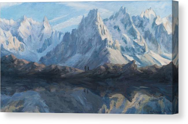 Mountain Canvas Print featuring the painting Montain mirror by Marco Busoni
