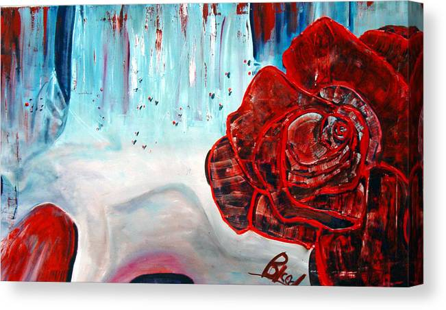 Landscape Canvas Print featuring the painting OP and rose by Peggy Blood
