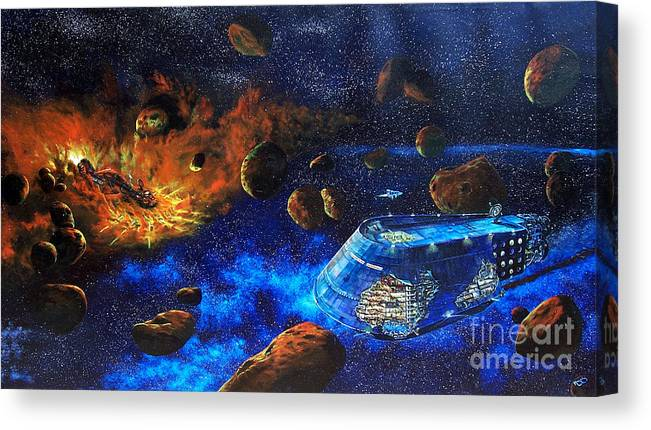 Future Canvas Print featuring the painting Spaceship Titanic by Murphy Elliott