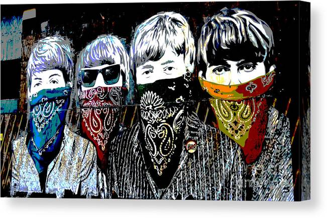Banksy Canvas Print featuring the photograph The Beatles wearing face masks by RicardMN Photography