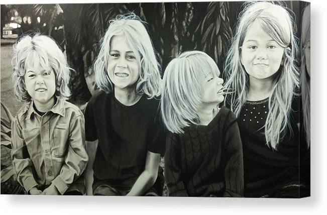Portraits Canvas Print featuring the painting The Kids by Scott Robinson