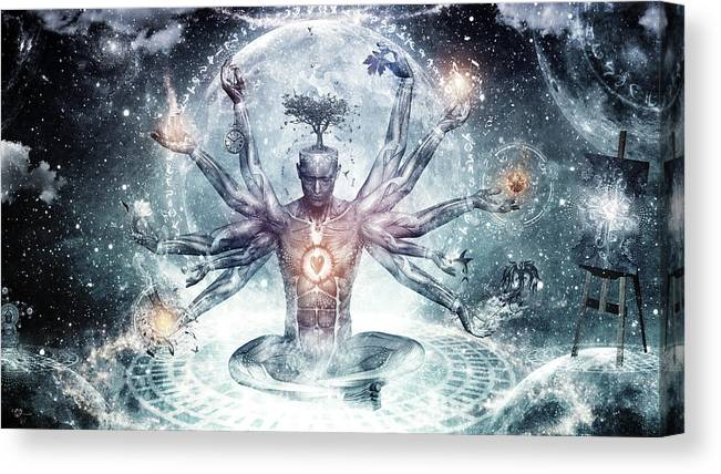 Cameron Gray Canvas Print featuring the digital art The Neverending Dreamer by Cameron Gray