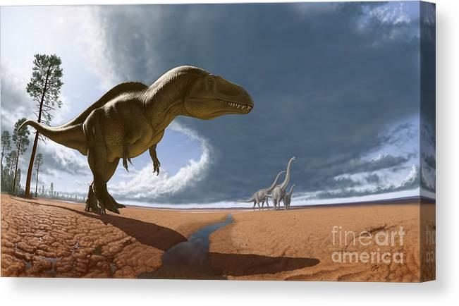 Paleoart Canvas Print featuring the digital art Acrocanthosaurus by Julius Csotonyi