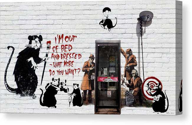 �urban Graffiti� Collection By Serge Averbukh Canvas Print featuring the photograph Banksy - The Tribute - Rats by Serge Averbukh