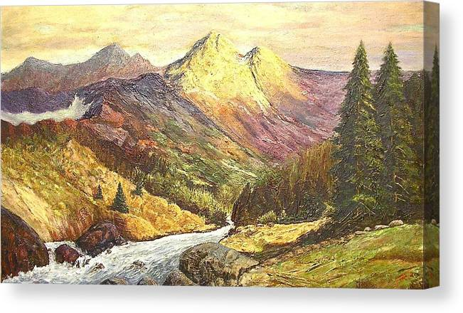 Mountains Canvas Print featuring the painting Rocky Mountains by Nicholas Minniti