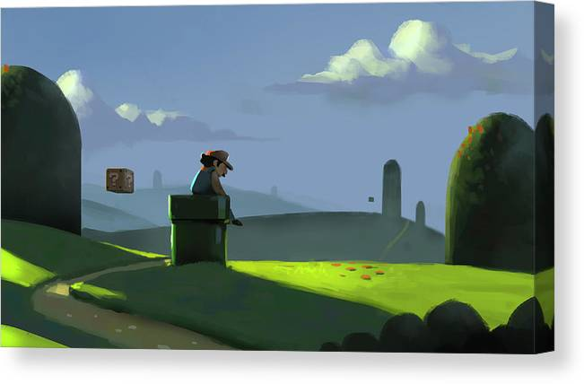 Mario Canvas Print featuring the painting A Contemplative Plumber by Michael Myers