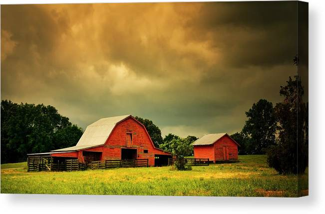 Red Canvas Print featuring the photograph Barn in the USA, South Carolina by Zayne Diamond Photographic