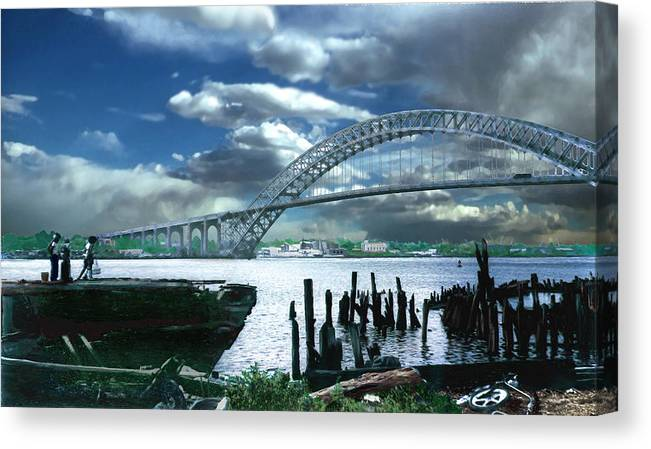 Seascape Canvas Print featuring the photograph Bayonne Bridge by Steve Karol