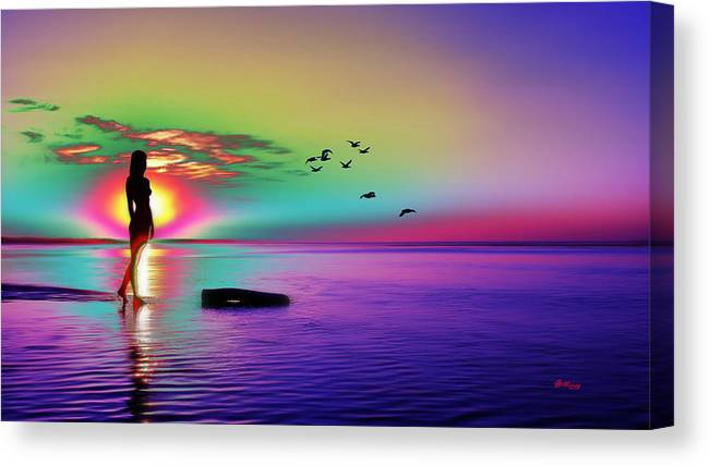 Water Canvas Print featuring the digital art Beach Girl 3 by Gregory Murray