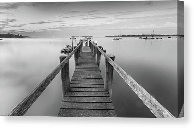 Boat Dock Canvas Print featuring the photograph Boat Dock at Sunrise Black-and-White Panorama by Dapixara Art