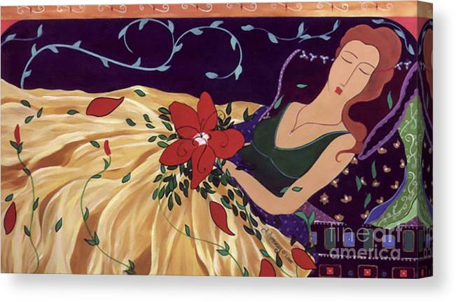#female #figurative #painter #fineart #art #images #painting #artist #burieddreams Canvas Print featuring the painting Buried Dreams by Jacquelinemari