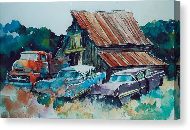 Ford Cabover Canvas Print featuring the painting Cluster of Restorables by Ron Morrison
