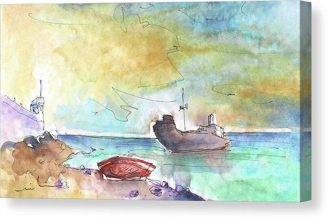 Travel Canvas Print featuring the painting Costa Teguise 01 by Miki De Goodaboom