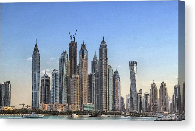 City Canvas Print featuring the digital art Downtown Dubai by Sandeep Gangadharan