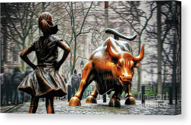 Fearless Girl Statue Canvas Print featuring the photograph Fearless Girl and Wall Street Bull Statues by Nishanth Gopinathan
