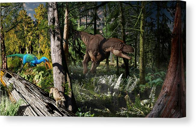Paleoart Canvas Print featuring the digital art Judithian Montana Mural by Julius Csotonyi