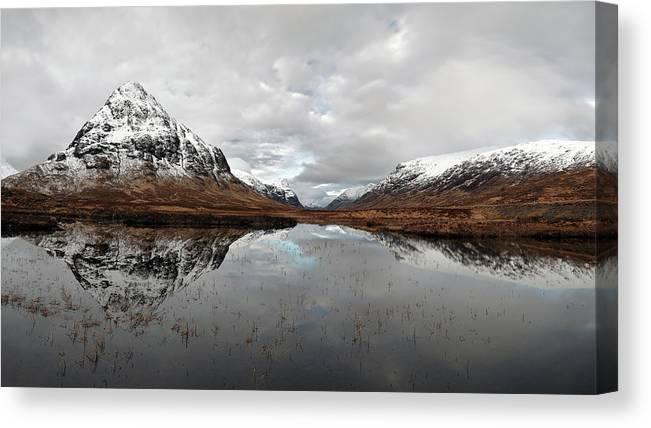Lochan Na Fola Panorama Canvas Print featuring the photograph Lochan Na Fola Panorama by Grant Glendinning