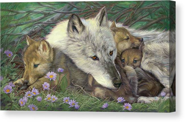 Wolf Canvas Print featuring the painting Mother's Comfort by Lucie Bilodeau
