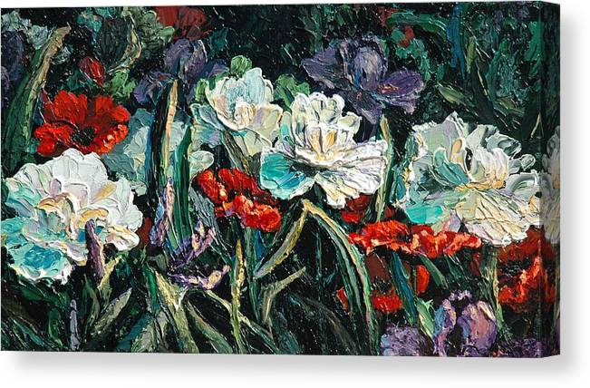 Floral Canvas Print featuring the painting Peonies by Cathy Fuchs-Holman